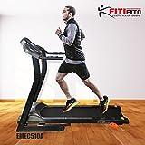 Fitifito 510A Laufband 3PS 12km/h mit LCD Bildschirm, 6 Zonen Dämpfungssystem, 25 Trainingsprogrammen - Klappbar, Schwarz