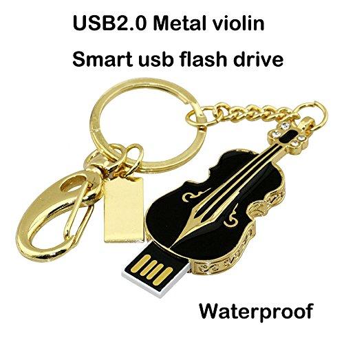 Chiavetta usb da 128 gb, in metallo con violino in metallo e diamanti lucenti chiave usb 2.0 con pen drive, nero