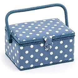 Hobby regalo de tela vaquera diseño de lunares 'caja de costura rectangular de tamaño medio (18.5x 26x 15cm (D/W/H)