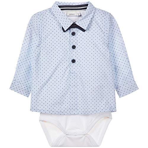 festmode baby NAME IT Baby Jungen Hemd-Body mit Fliege Taufhemd NBMRUSK, Größe:62, Farbe:Dark Sapphire
