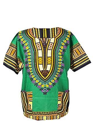 Lofbaz Dashiki Unisexe Haut avec impression africain traditionnel Vert Taglia L