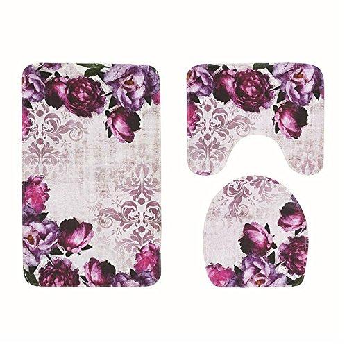 KOBWA 3Badezimmer Teppich Set, Rutschfeste Badezimmer Matte WC Bezug violett