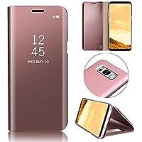 Galaxy S8 Hüllen, MingKun Thin Spiegel Crystal Flip Case Cover für Samsung Galaxy S8 PU Leder Clear View Leder Clear Viewtasche Schutzhülle - Pink