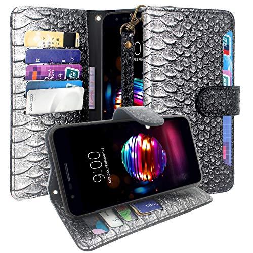 CMID LG K11 Hülle, LG K10 (2018) Hülle, PU Leder Brieftasche Handytasche Flip Bookcase Schutzhülle Cover [Kartensteckplatz][Ständer][Handschlaufe] für LG K11 / LG K10 (2018) (B-Schwarz)