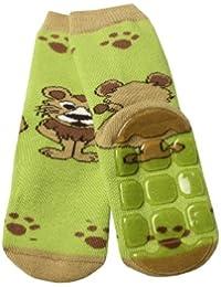 Weri Spezials Unisexe Bebes et Enfants ABS Eponge Lionet Pantoufle Chaussons Chaussettes Antiderapants Vert