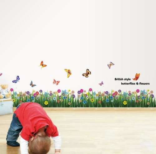Walplus But Grass & Butterflies Wall Stickers - Office Home Decoration, 170cm x 50cm, PVC, Removable, Transparent Borders, Self-Adhesive, Multi-Color