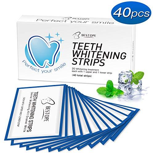 Bestope 40pcs White Stripes Zahnaufhellungs Bleaching Strips Zahnauhellung-Streifen Zahnbleaching Set Zahnpflege Set für Weiße Zähne Weisser Machen Zahnaufheller Zahn Teeth Whitening