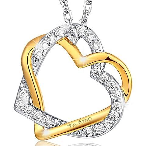 Marenja Cristal-Regalos Navidad-Collar para Mujer Doble Corazón Entrelazado-Grabado