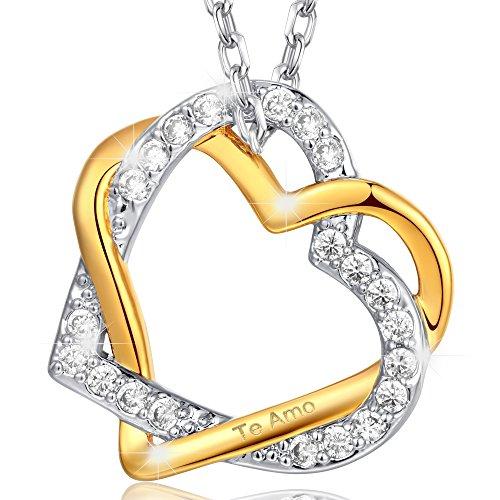 MARENJA Cristal-Collar para Mujer Doble Corazón Entrelazado-Grabado