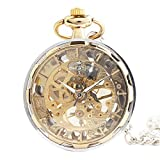 XLORDX Vintage Gold Zahnrad Ritzel Hohe Openwork Handaufzug Mechanische Taschenuhr Skelett Uhr Pullover Halskette Kette