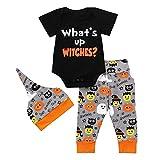 SEWORLD Baby Halloween Kleidung,Niedlich Infant Baby Mädchen Jungen Brief Print Strampler Overall Halloween Hosen Outfits Set(Schwarz,6 Monate)