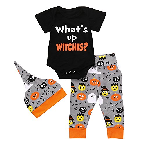 faschingskostuem qualle OverDose Damen Halloween Cool Style Infant Baby Mädchen Jungen Brief Drucken Nette Spielanzugoverall Halloween Cosplay Hosen Outfits Set