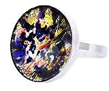 Die Sonne Und der Mond Sammlung, Eclipse -, Feuer-Opal Gold-Blau, 925 Sterling Silber Runde Klassische Ring, Größe 18, US 8.5, Handgemachte BohemStyle