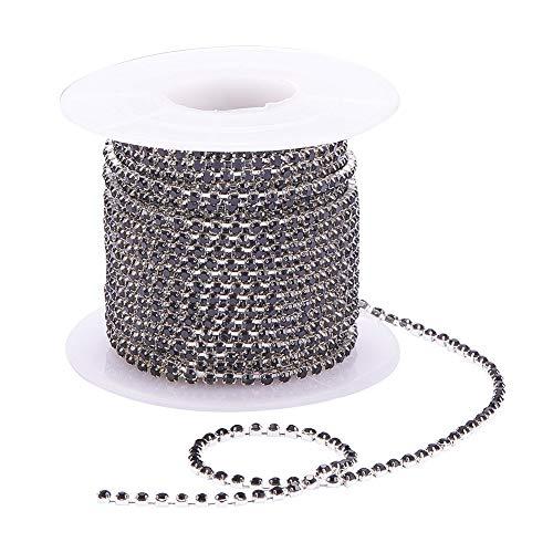 Pandahall 10 yards 2mm rhinestone di cristallo close trim cup catena taglio claw catena ottone strass strass catene da cucire decorazione artigianale creazione di gioielli (argento e nero)