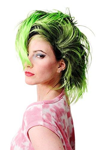WIG ME UP ® - PW0078-1-P103PC15 Perücke Faschingsperücke Karneval Punk Glam Vamp Mohawk Iro Auftoupiert Schwarz Neon (Perücken Neon)