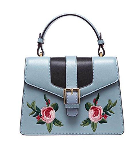 Fabelhaft Kreative Stickerei Handtasche Damen Leder Mode Umhängetasche Blue