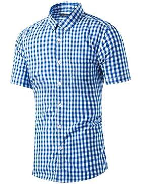 [Sponsorizzato]Anfooto Uomo Camicia a maniche corte Camicie a Quadri Casual in Maniche Shirt Slim Fit Uomo Camicia a maniche...