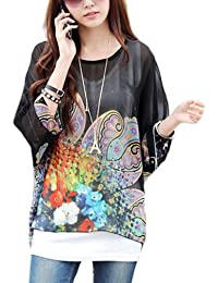 Imixcity Women's Chiffon Blouse T-Shirt Casual Tops Loose Bohemian Style New Fashion