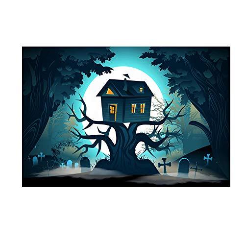 Heetey Halloween Dekoration Halloween-Hintergrund-Kürbis-Vinyl 5x3FT Laternen-Hintergrund-Fotografie-Studio Weinlese-Kürbis-Schloss-Helles Party-Hängen Für Den Außeneinsatz im Freien (Bane Katze Kostüm)
