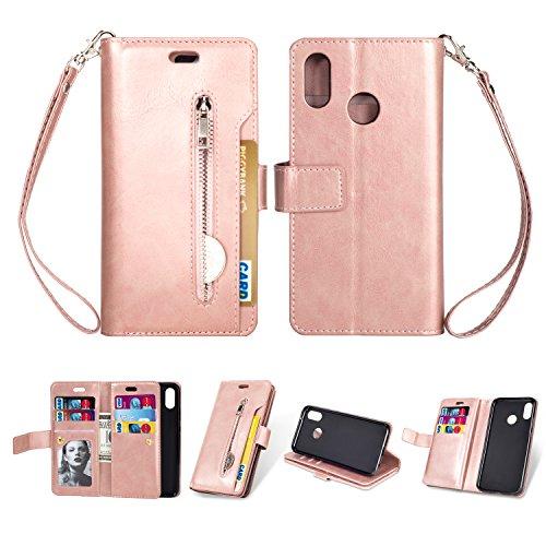 KANTAS Huawei P20 Lite Case Hülle, Brieftasche Flip Case mit 9 Kartenfächer PU Leder Handyhülle Taschenhülle Ledertasche mit Magnet Standfunktion Geldbeutel Schutzhülle mat Handseil, Rose Gold