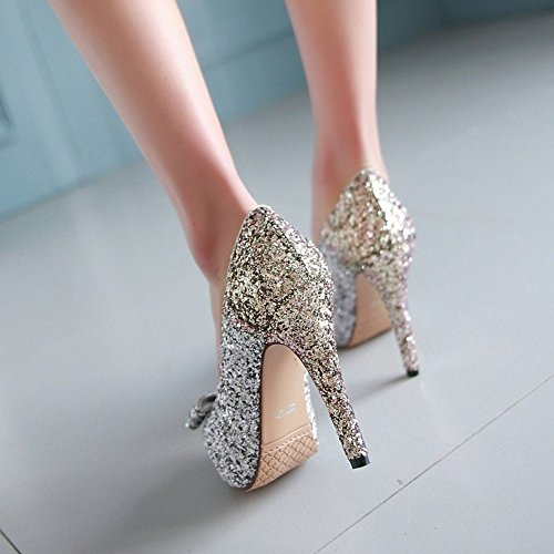 COOLCEPT Femme Mode A Enfiler Chaussures Basse Escarpins Talons Aiguille Peep Toe Chaussures avec Bow Or