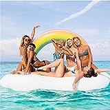 ZLYFA 220 cm Aufblasbare Wolke Regenbogen Matratze Pool Spaß Wasser Strand Spielzeug Schwimmende Reihe Reihe Wasserfloß