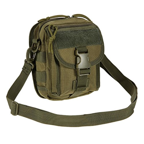Vbiger Männer Umhängetasche Nylon Outdoor Umhängetasche Verstellbare Reise-Kuriertasche Mini taktisch Schultertasche Armeegrün