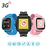 Oaxis Kids Uhr Telefon für Kinder, erste 3G SIM Karte Unterstützte Kind Smartwatch mit GPS Tracker Eignung Anti-verloren SOS Finder Geo Benzet Touchscreen (Blau) oaxis watchphone Smartwatch für Kinder: Oaxis Watchphone im Kurzcheck 518teN mJmL
