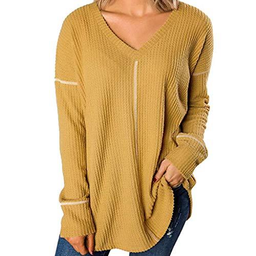 POPLY Langarmshirt für Frauen Casual Langarm Knoten Waffel Strick Tunika Oberteile Bluse Nette Streifen Spleißen V-Ausschnitt T-Shirts Pullover