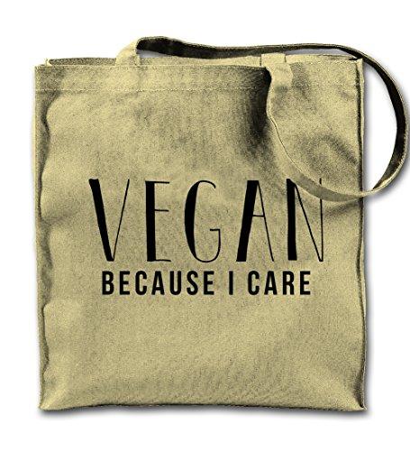 Vegan Because I Care Natürliche Leinwand Tote Tragetasche, Tuch Einkaufen Umhängetasche (Umhängetasche Natürliche Baumwolle)