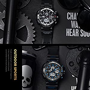 Analógico Digital Reloj Militar reloj deportivo para hombre doble esfera Business Casual multifunción electrónico muñeca relojes resistente al reloj de pulsera (1)
