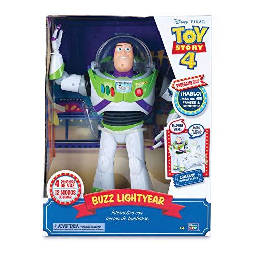 Toy Story 4 - Buzz Lightyear Super Interactivo con voz en español y reconocimiento de frases - 30cm (Bizak 61234432)