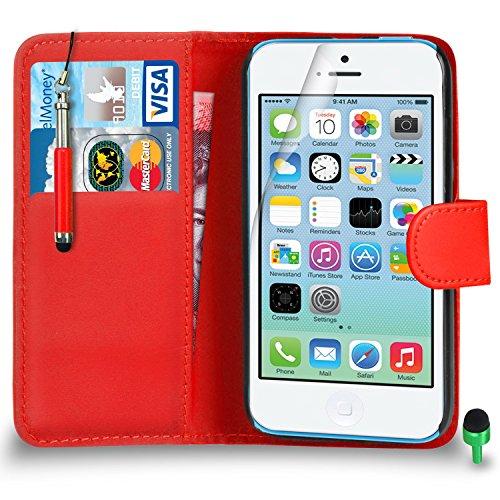 Apple iPhone 5C hülle Prämie Leder ROT Brieftasche Flip Fall Abdeckung mit Einziehbar touch-Stylus GRÜN Kappe Bildschirmschutz & Poliertuch