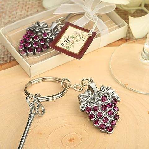6 X Vineyard Grape Vine design Porte-clés de mariage & Party Sac Faveurs
