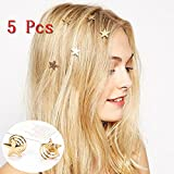 5pcs/lot Wicemoon Fashion Woman Girl Head Accessories Gold Stars Coil Spring Clips Hairpin Hair Jewelry Headwear (Color: Gold)