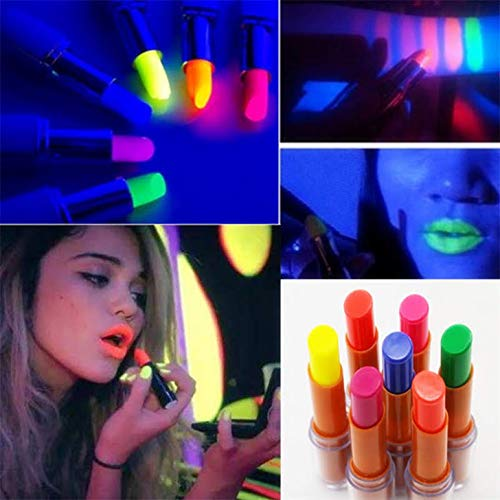 Wanna Party Neon Lipstick Glow in The Dark for Halloween Party (Pink)
