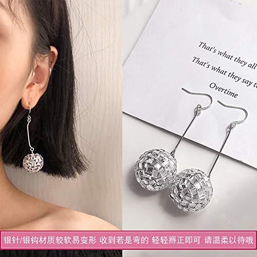 Chwewxi Ohrringe cool cool Temperament ohrclips ohne durchbohrten weiblichen kalten Wind, 20 Nacht Shop Ball (Silber Haken)