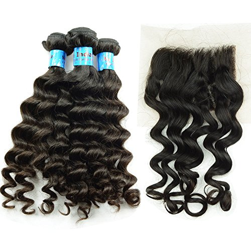 NOBLE-QUEEN-Hair-Virgin-Indian-Hair-Bundle-With-Top-Closure-10A-3Pcs-Loose-Curl-Human-Hair-Weft-1Pc-Middle-Free-Part-Closure-Bleached-Knots-4-Packs