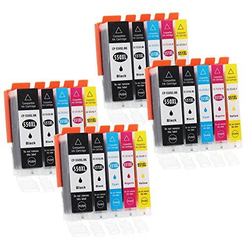 Canon Ersatz-farbe-tinte (20 Druckerpatronen mit Chip und Füllstandsanzeige kompatibel zu Canon PGI-550 / CLI-551 (4x Schwarz breit, 4x Schwarz schmal, 4x Cyan, 4x Magenta, 4x Gelb) passend für Canon Pixma IP-7200 IP-7250 IP-8700 IP-8750 IX-6800 IX-6850 MG-5400 MG-5450 MG-5550 MG-5600 MG-5650 MG-5655 MG-6300 MG-6350 MG-6400 MG-6450 MG-6600 MG-6650 MG-7100 MG-7150 MG-7500 MG-7550 MX-720 MX-725 MX-920 MX-925)