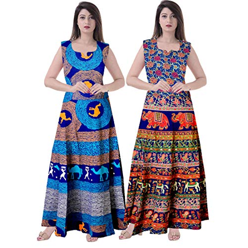 Silver Organisation Women 100% Cotton Multicolor Dress (Combo of 2 pcs)