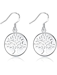 Yellow Chimes Tree Engraved By Yellow Chimes Silver Plated Drop Earrings For Women (Silver)(YCFJER-827TREE-SL)