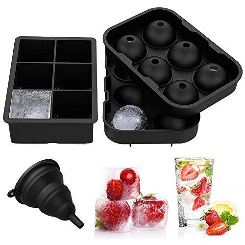 orm Silikon Eiswuerfel Form 45 mm Eiskugelform 50mm 6-Fach Eiswürfelbehälter Kühl Aufbewahren Würfel Eiswürfel für Bier, Cocktails, Whisky, Wasser, Soda, Obst, Pudding ()
