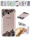 E-Mandala Samsung Galaxy J5 2016 Hülle Ultra Dünn Slim Durchsichtig Silikon Schutzhülle Handy Tasche Etui Handyhülle Transparent mit Muster - Lace Spitze Blumen
