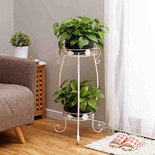 Lwjjhj stand di piante verdi fioriera bianca doppia mensola balcone soggiorno interna atterraggio in ferro battuto diversi fiori verdi
