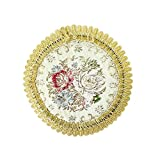 Wrapables Round Vintage Floral Placemat with Gold Embroidery, 7-Inch, Romantic Pink, Set of 2
