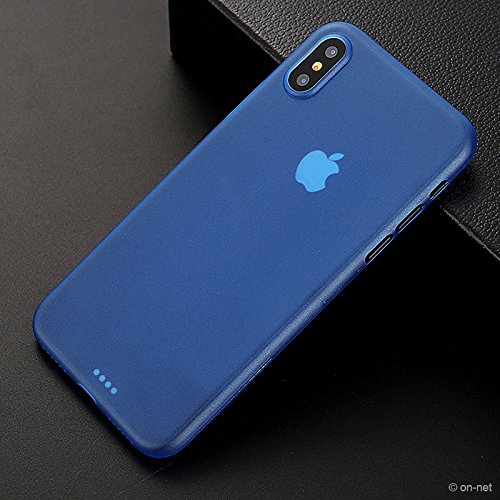 iPhone X Custodia Nero Opaco, Bianco, Blu o Rosso | On-Net iPhone cellulare CUSTODIA PROTETTIVA CON 0,3mm di spessore Sottile MA resistente flessibile | Custodia Case Back Cover iPhone di custodia pe Blau