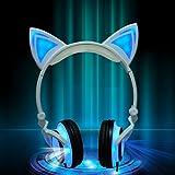 KEBIDU Katzen-Kopfhörer mit leuchtenden Ohren, Cartoon-Kopfhörer für Kinder, faltbar, für Mädchen, als Teil eienr Verkleidung, kompatibel mit iPhone, Android-Handy
