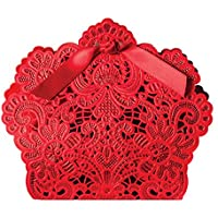 TININNA 50 pz rosso cinese Taglio laser vuoto Contenitori di caramella Confezione Regalo con Il nastro per le decorative di