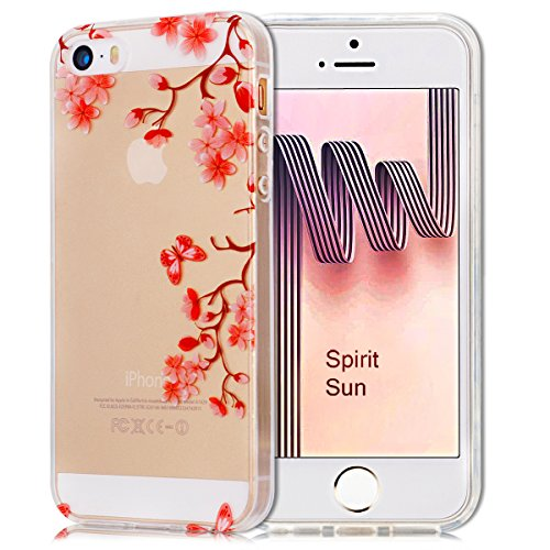 iPhone SE Hülle, iPhone 5S Hülle, SpiritSun Transparent Handy Hülle Serie für Apple iPhone SE / 5 / 5S [Rosa Pflaume Blume Muster] Weich TPU Silikon Schutzhülle Schale Weiße Tasche Ultradünnen Etui An Rosa Pflaume Blume Muster