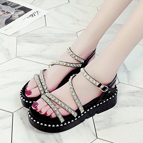 XY&GKSandales à semelle épaisse pour femmes chaussures d'été avec un muffin de Diamants 36 black